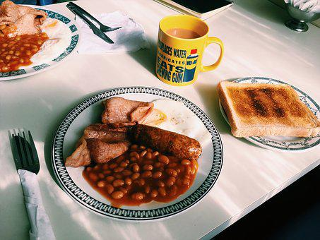 English, Breakfast, Toast, Tea, Food, Bacon, Egg, Full
