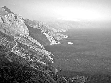 Cliff, Amorgos, Cyclades, Greece, Hellas, Aegean Sea