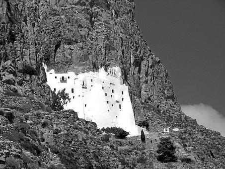 Monastery, Cliff, Cyclades, Amorgos, Greece, Hellas