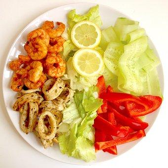 Food, Salad, Seafood, Meal, Healthy, Prawns, Squid