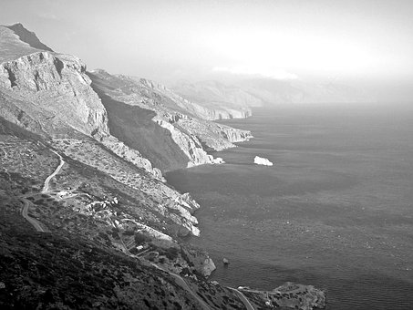 Cliff, Amorgos, Cyclades, Greece, Hellas, Aegean Sea