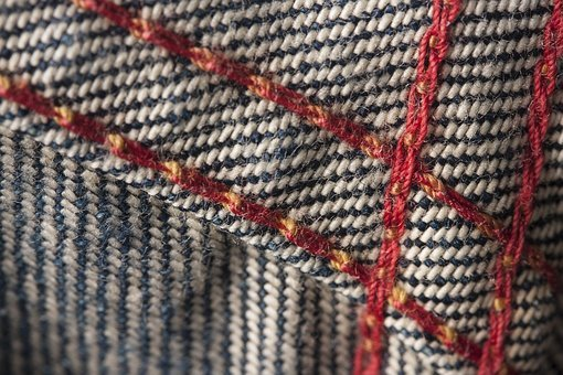Jeans, Sewing, Red, Macro, Detail, Fabric, Textile
