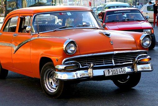 Cuba, Car, Orange, Vintage, Havana, Old, Retro, Travel