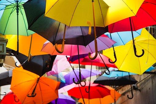 Umbrella, Landscape, Red, Winter, Yellow, Wallpaper