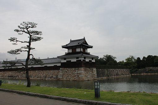 Gate House, Castle, Tree, Japanese, Old, Building, Wall