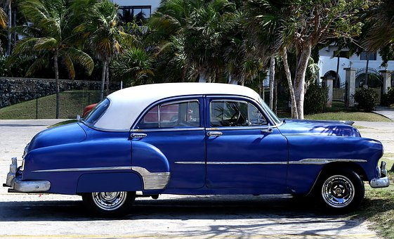 Cuba, Car, Blue, Vintage, Havana, Travel, American