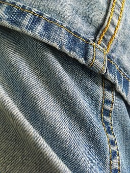Jeans, Fabric, Blue, Yellow, Sewing, Textiles, Dress