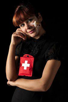 Red, First Aid, Injured, Model, Beautiful, Young Model