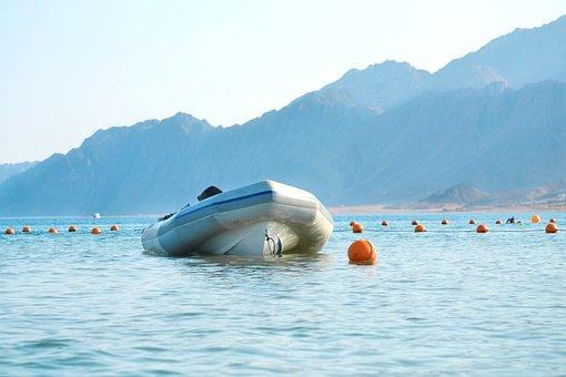 Boat, Mountain, Dahab, Sinai, Sea, Blue, Water, Marine