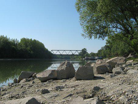 Danube, Bridge, River, Cliff, Backwater, Branch, Part