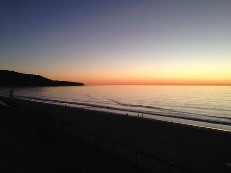 Sunset, Beach, Palos Verdes, Coast, Silhouette, Dusk