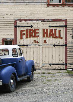 Old, Vintage, Fire, Hall, Truck, Car, Vehicle, Red