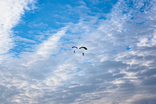 Skydiving, Sky, Clouds, Parachutist, Freedom, Fun