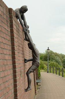 Image, Statue, Sculpture, Brass, Child, Boy, Climbing