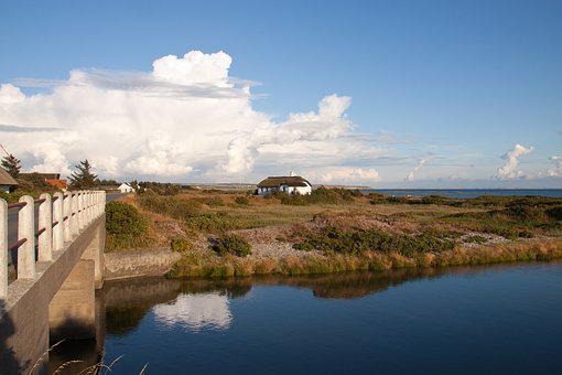 Thy, Krik, Stream, Cottage, Bridge, Jutland, Denmark