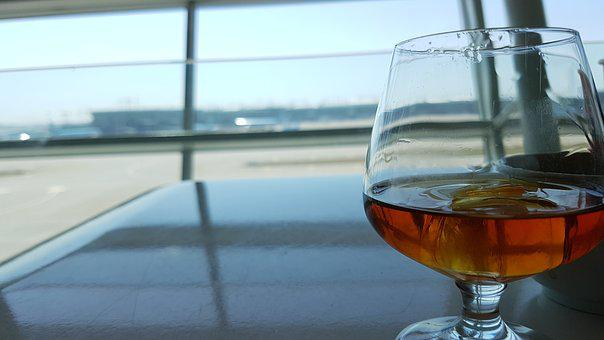Airport, Lounge, Asiana, Whiskey, Glasses, Wine Glasses