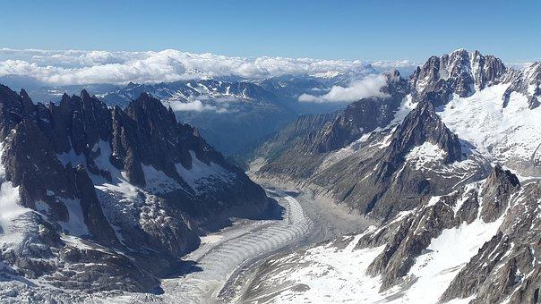 Mer De Glace, Glacier, Aiguille Verte, Glaciated