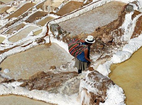 Peru, Marsh, Salant, Saline, Maras, Mountain, Peasant