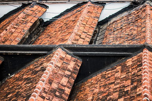 Roof, Tiles, Symmetry, House, Roofing, Construction