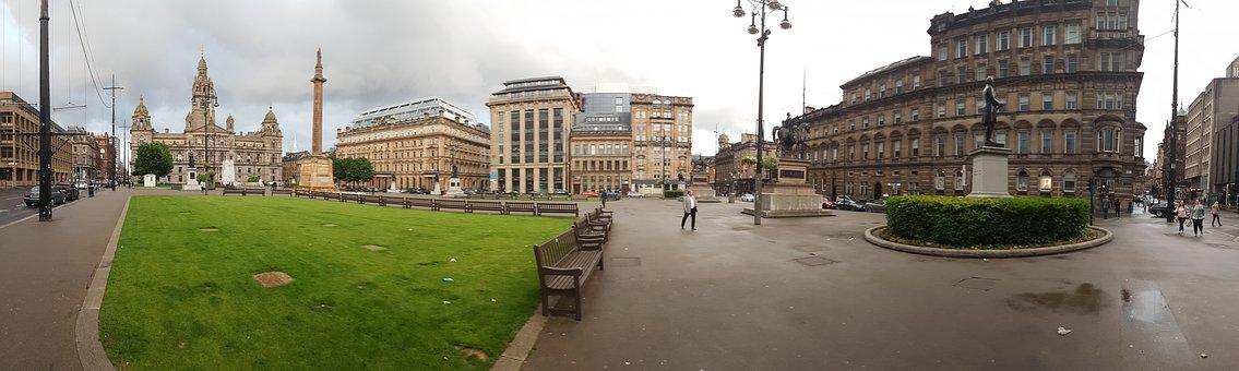 Glasgow, George Square, Panorama, Scotland, Uk, City