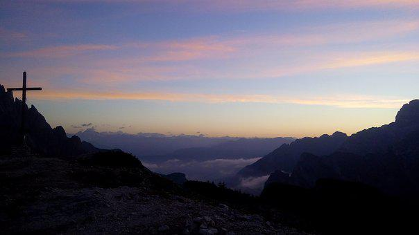 Mountains, Sunrise, Summit, Morgenrot, View, Nature