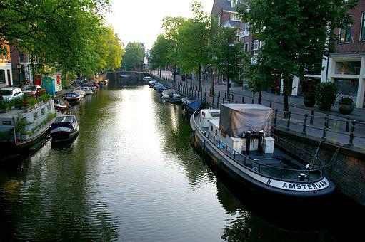 Amsterdam, River, Amstel, Boats, Channel