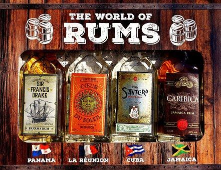 Rum, Alcohol, Bottles, Different Origin