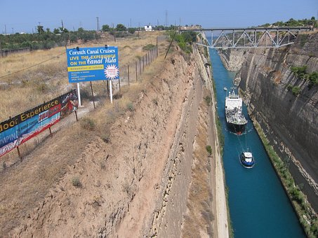 Corinth Canal The Ship Passage, Tight, Tug