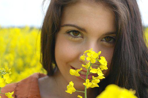 Oilseed Rape, Girl, Romance, Woman, Elf, Pretty
