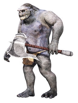 Creature, Primitive, Fantasy, Weapon, Troll, 3d