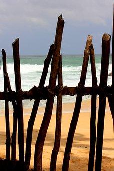 Fence, Beach, Sand, Blue, Gold, Sea, Ocean, Coast