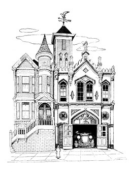 Firehouse, Fire Station, House, Old, Vintage, Art