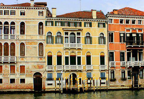 Colourful, Houses, Grand Canal, Italy, Venice