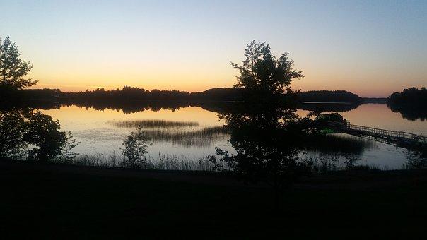 Finland, Lake, Summer, Night, Pier, Travel, Landscape
