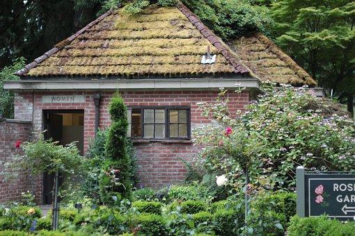 Building, Brick, Roof, Moss, Old, Rose, Garden