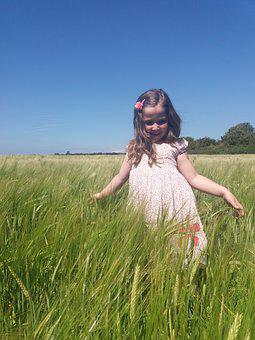 Girl, Wheat, Field, Young, Happy, Summer, Nature, Sun