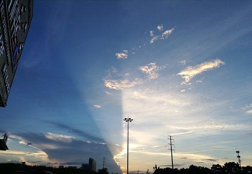 Sky, Sunset, Lamp Holder, City, Blue Sky, White Cloud