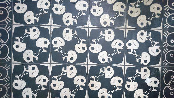 Skulls, Floor, Decoration, Tiles, Mosaic, Ornamental