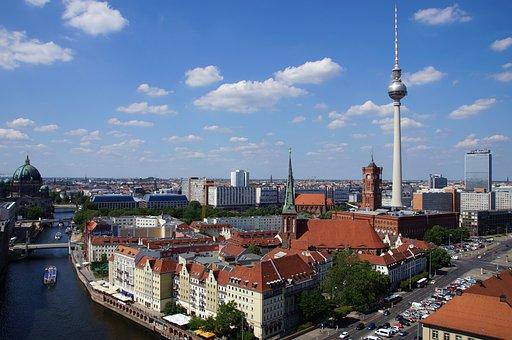 Berlin, Tv Tower, Nikolaiviertel, Dom, Skyline