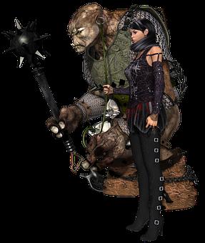 Girl, Fantasy, Troll, Legend, Weapon, Dressage, 3d, Red