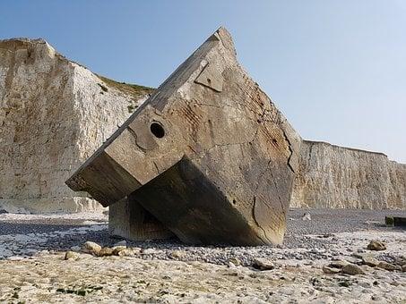 Normandy, Coast, Concrete Block, Bunker, World War Ii