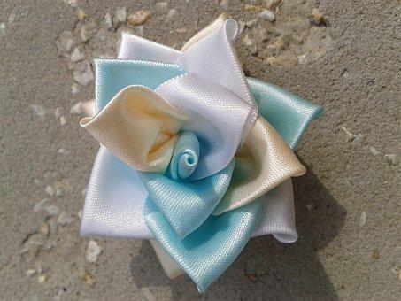 Kanzashi, Rose, White, Blue, Yellow, Bijou, Barrette