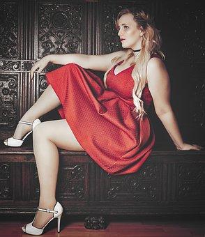 Blond, Red Dress, High Heels, Dress, Doll Face, Deco
