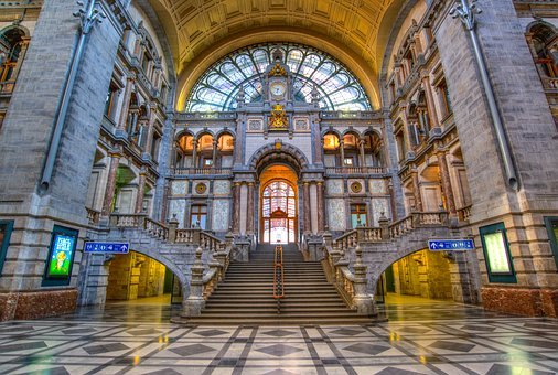 Antwerp, Station Hall, Building, Station, Hall, Railway