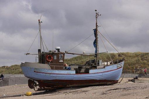 Fishing, Boat, Ashore, Jutland, Denmark, Sand, Ship