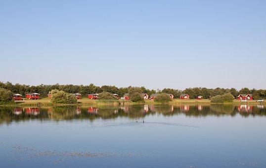 Week, Camp, Jutland, Denmark, Lake, Fishery, Huts