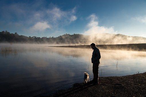 Fog, Lake, Calm, Sunrise, Water, Man, Dog, Foggy