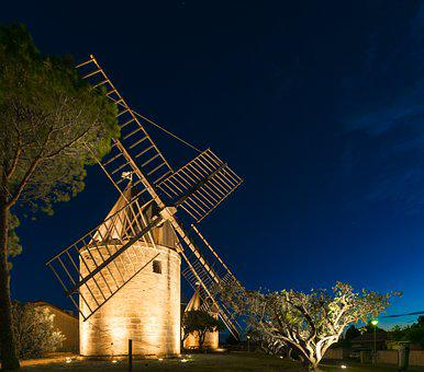 Mill, Jonquières-saint-vincent, Gard, Night, Monument