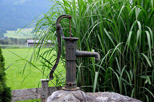 Fountain, Pump, Water, Reed, Drinking Water, Cock Pump
