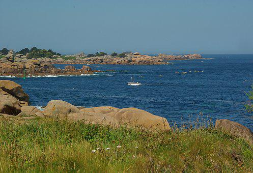 Brittany, Ploumanach, Rocks, Pink Granite, Side